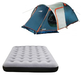 Barraca Camping Tipo Iglu Indy 4P Nautika + Colchão Inflável Casal Fit Ecologic com Inflador
