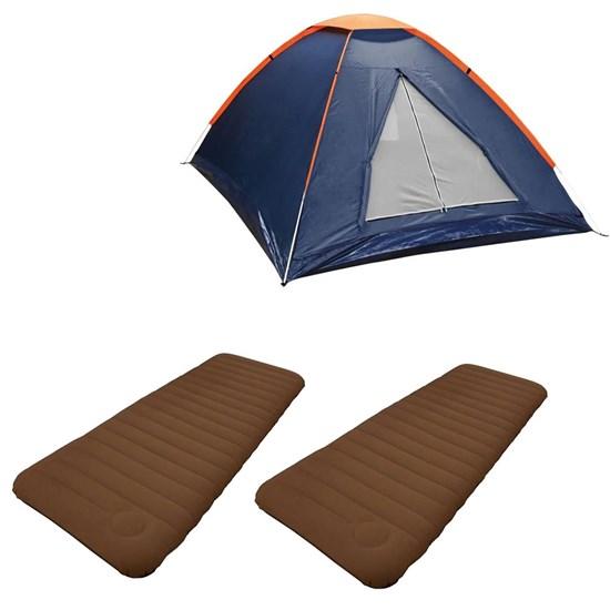 Barraca Camping Tipo Iglu Panda 3P Nautika + 2 Colchões Infláveis Solteiro Soft Sleep Guepardo