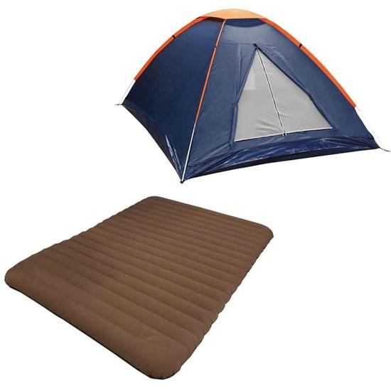 Barraca Camping Tipo Iglu Panda 3P Nautika + Colchão Inflavel Casal Soft Sleep Guepardo SC0501