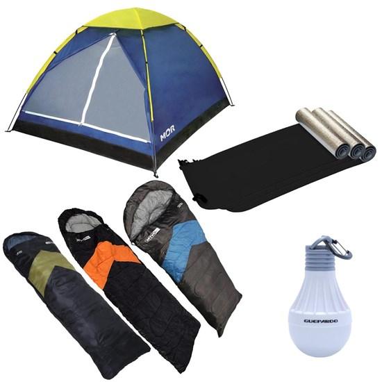 Barraca de Camping 4 Pessoas Mor + 3 Sacos de Dormir Viper + 3 Isolantes Térmicos Nautika + Lâmpada