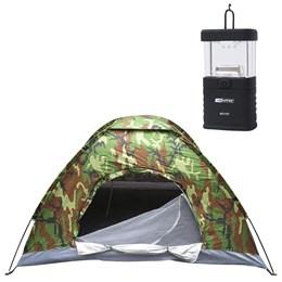 Barraca de Camping Camuflada Para 03 Pessoas + Mini Lampião Talino Nautika à Pilhas Para Barracas