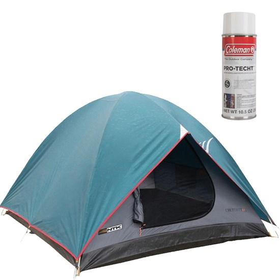 Barraca de Camping Cherokee GT 3/4 Pessoas Nautika + Impermeabilizante de Tecido para Barraca Coleman
