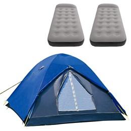 Barraca de Camping Iglu Fox até 4 Pessoas Nautika + 2 Colchões Solteiro Inflável Aveludado Star