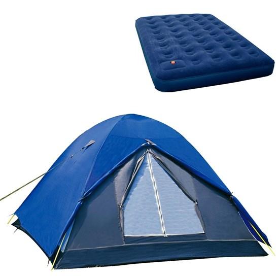 Barraca de Camping Iglu Fox até 4 Pessoas Nautika + Colchão Casal Inflável Zenite Com Inflador