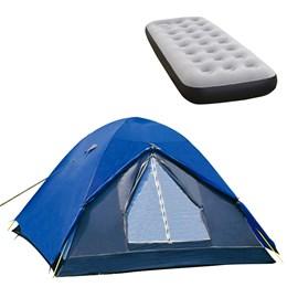 Barraca de Camping Iglu Fox até 4 Pessoas Nautika + Colchão Inflável Solteiro Fit Ecologic com Inflador