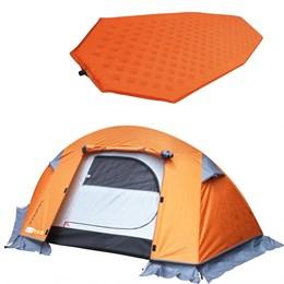 Barraca de Camping Mini Pack 1 Pessoa Azteq + Isolante Térmico Colchão Auto Inflável