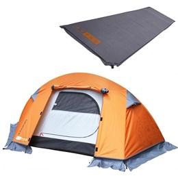 Barraca de Camping Mini Pack 1 Pessoa Azteq + Isolante Térmico Colchão Auto Inflável Ruby