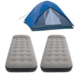 Barraca de Camping Nautika Fox até 3 Pessoas + 2 Colchões Infláveis Solteiro Aveludado Star