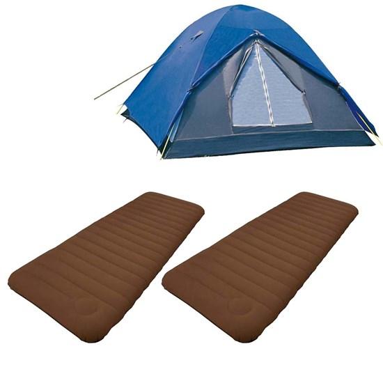 Barraca de Camping Nautika Fox até 3 Pessoas + 2 Colchões Infláveis Solteiro Soft Sleep Guepardo