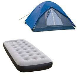Barraca de Camping Nautika Fox até 3 Pessoas + Colchão Inflável Solteiro com Inflador Fit Ecologic