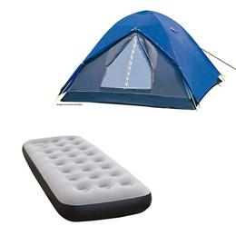Barraca de Camping Nautika Fox até 7 Pessoas + Colchão Inflável Solteiro com Inflador Fit Ecologic