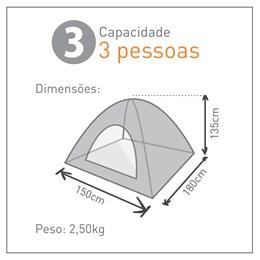 Barraca de Camping para 3 Pessoas Atena - Guepardo BA0301