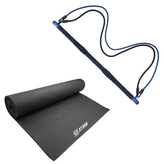 Bastão de Pilates 93cm + Tapete Colchonete ZStorm Yoga Mat em PVC Preto