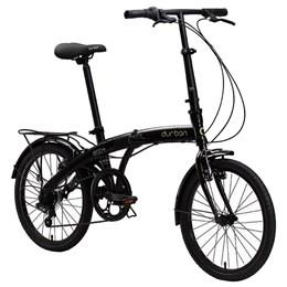 "Bicicleta Dobrável Aro 20"" e 6 Marchas Preta - Durban Eco+"
