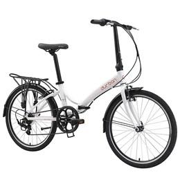 Bicicleta Dobrável Aro 24 e 6 Marchas Durban Rio XL Branco