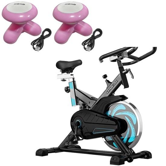 Bike Spinning ONeal TP1000 Semi Profissional + 2 Mini Massageadores Corporal Rosa