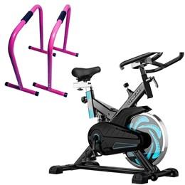 Bike Spinning ONeal TP1000 Semi Profissional + Barras de Exercícios Equalizer Cau Saad Acte