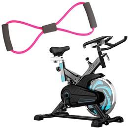Bike Spinning ONeal TP1000 Semi Profissional + Elástico Extensor em Oito Liveup Tensão Leve
