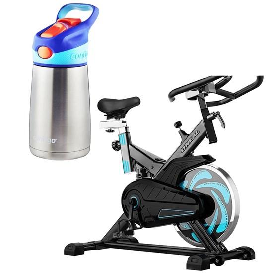 Bike Spinning ONeal TP1000 Semi Profissional + Garrafa Infantil Rosa Pássaros