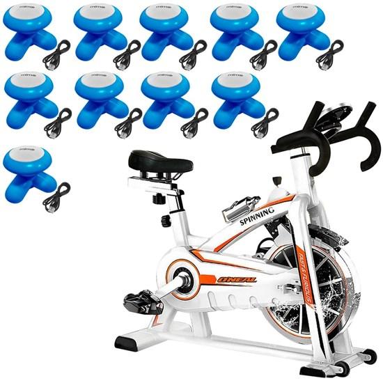 Bike Spinning ONeal TP1100 Semi Profissional + 10 Mini Massageadores Corporal USB Pilha Azul