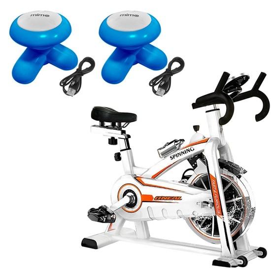 Bike Spinning ONeal TP1100 Semi Profissional + 2 Mini Massageadores Corporal USB Pilha Azul