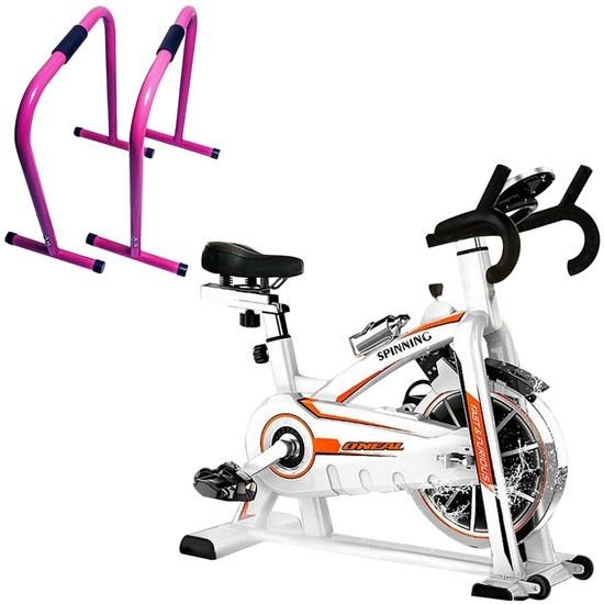 Bike Spinning ONeal TP1100 Semi Profissional + Barras Exercícios Equalizer Aço Rosa ACTE