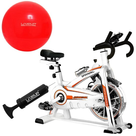 Bike Spinning ONeal TP1100 Semi Profissional + Bola Suíça 45 CM Liveup LS3222 45 PR com Bomba