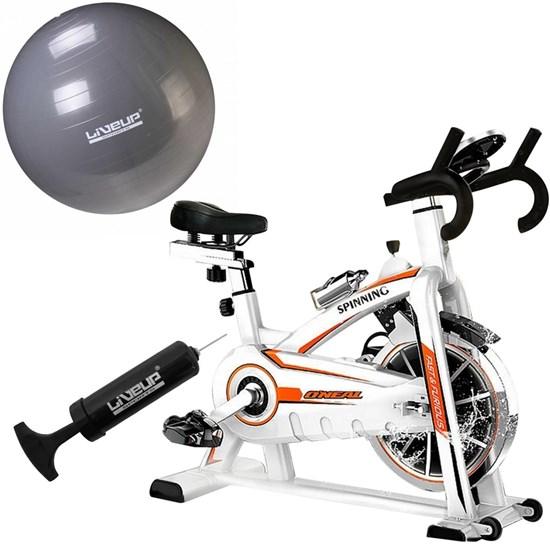 Bike Spinning ONeal TP1100 Semi Profissional + Bola Suiça 85cm LiveUp LS3222 85 PR com Bomba