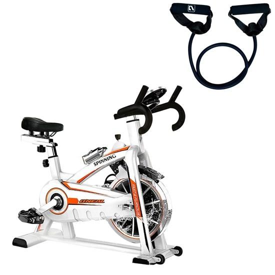 Bike Spinning ONeal TP1100 Semi Profissional + Elástico Extensor 1 Via Tensão Extra Forte LIVEUP