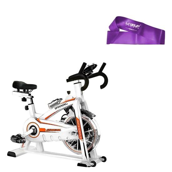 Bike Spinning ONeal TP1100 Semi Profissional + Mini Bands Super Forte Treinamento Funcional Liveup