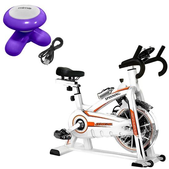 Bike Spinning ONeal TP1100 Semi Profissional + Mini Massageador Corporal USB Pilha Roxo