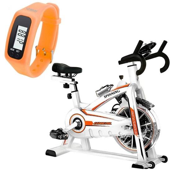 Bike Spinning ONeal TP1100 Semi Profissional + Relógio Pedômetro Laranja LIVEUP
