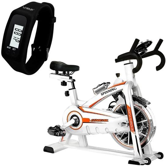 Bike Spinning ONeal TP1100 Semi Profissional + Relógio Pedômetro Preto LIVEUP