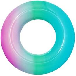 Boia Circular Inflável Bestway Arco-Íris Azul com Rosa 91cm em Vinil