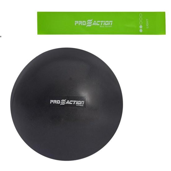 Bola em PVC Overball Inflável 26 CM + Mini Band Proaction Intensidade Leve Verde