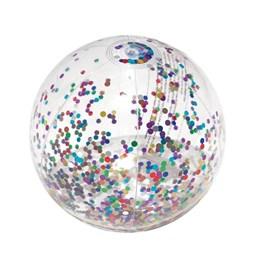 Bola Inflável 28cm com Glitter Coloridos Mor Sort Transparente em PVC