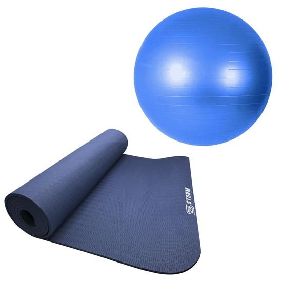 Bola Suíça para ZStorm Premium 65cm Azul + Tapete Colchonete Yoga Mat TPE