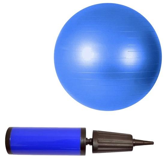 Bola Suíça Pilates Premium 65 cm Azul + Bomba de Inflar ZStorm Dupla Ação Azul