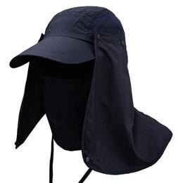 Boné Echolife Legionário com Máscara e Proteção UV 40 em Poliéster Azul Marinho