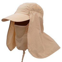 Boné Echolife Legionário com Máscara e Proteção UV 40 em Poliéster Caqui