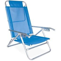 Cadeira de Praia Reclinável Mor Alumínio 5 Posições Azul