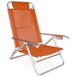 Cadeira de Praia Reclinável Mor Alumínio 5 Posições Laranja