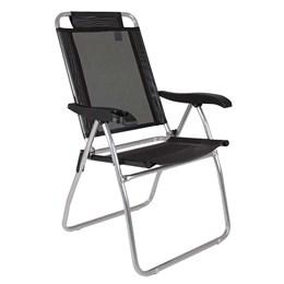 Cadeira de Praia Reclinável Mor Boreal Alumínio 4 Posições Preta