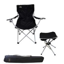 Cadeira Dobrável Alvorada com Porta Copo + Banqueta Dobrável Stool Nautika