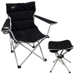 Cadeira Dobrável Boni com Porta Copo + Banqueta Dobrável Stool Nautika Preto