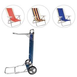 Cadeiras de Praia Reclináveis 3 Unidades Coleman + Carrinho de Praia Multiuso Mor