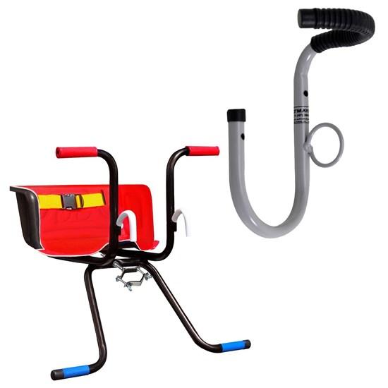 Cadeirinha Dianteira Infantil Stilo Luxo Vermelho + Suporte Parede 1 Bike AL-09