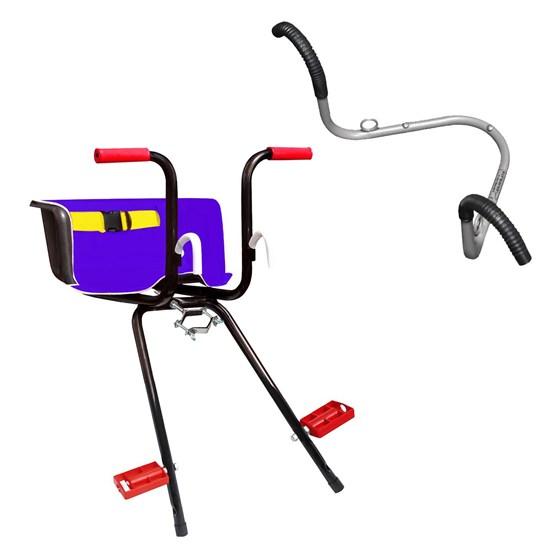 Cadeirinha Dianteira Infantil Super Luxo Azul + Suporte de Parede 2 Bikes Al-70