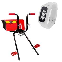 Cadeirinha Dianteira Vermelha Super Luxo + Relógio Pedômetro Branco LIVEUP