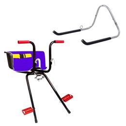 Cadeirinha Infantil Dianteira Azul Bike Super Luxo + Suporte Parede 1 Bike AL-05